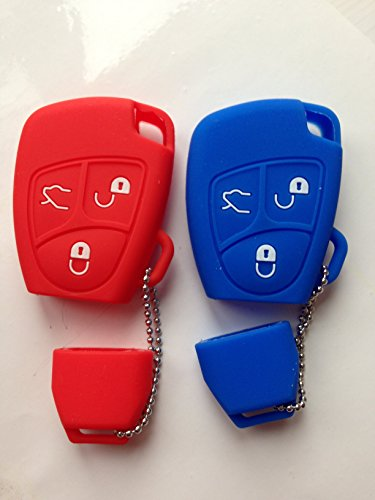 2pcs New key Covers For E500 300SL 500E 500SEC 500SEL 500SL 600SEC 600SEL SL600 Fob Skin Key Cover Holder Jacket Protector Keyless Remote Replacement