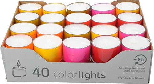 Juegos de 40 velas, tiempo de consuma 8 horas, varios colores