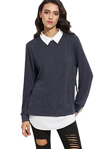 ROMWE Sweat-shirt Pull et gilet femme manches longues 2 en 1,Gris, X-Small