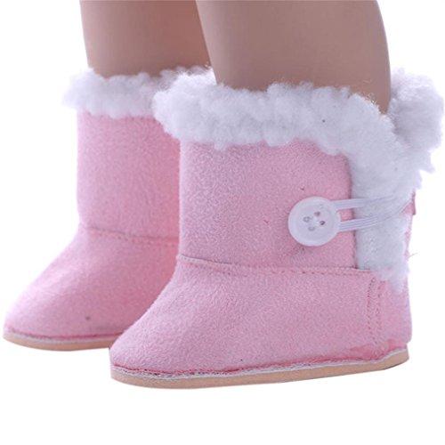 mingfa 45,7cm Puppe Schuhe Winter Stiefel und Schleife Kleid Schuh Puppe Zubehör für unsere Generation American Girl Puppe (Stricken Grau Pyjama)