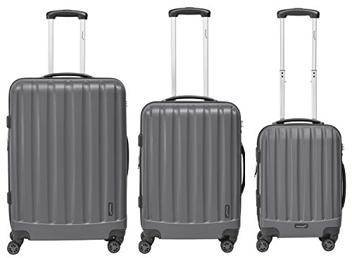 Packenger Velvet Koffer, Trolley, Hartschale  3er-Set in Grau, Größe M, L und XL