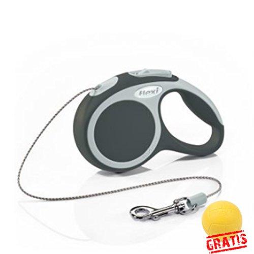 FLEXI VARIO+BALL Gratis Seilleine Seil Katzenleine Hundeleine Automatik Leine Katzen Hunde (XS(3m,max.8kg), Anthrazit)