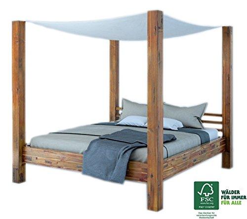SAM® Himmelbett Ella 200x200 cm, Bett aus Massivholz inkl. Stoffhimmel, Akazien-Holz, Unikat