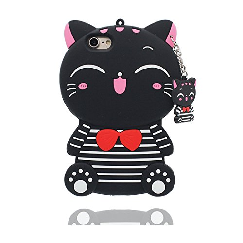 "iPhone 6 Coque, iPhone 6S Étui Cover Housse pour iPhone 6 6s 4.7 "" [Cartoon 3D Shiba inu Dog] Gel TPU Shell iPhone 6 Case (4.7"") Résistant à la poussière Scratch et ring Support de téléphone Noir"