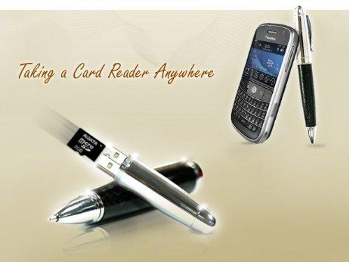 Preisvergleich Produktbild Flashpen Leder Rot - Hochwertiger Kugelschreiber mit USB / MicroSD Card Reader. Bis zu 64GB Speicher möglich!