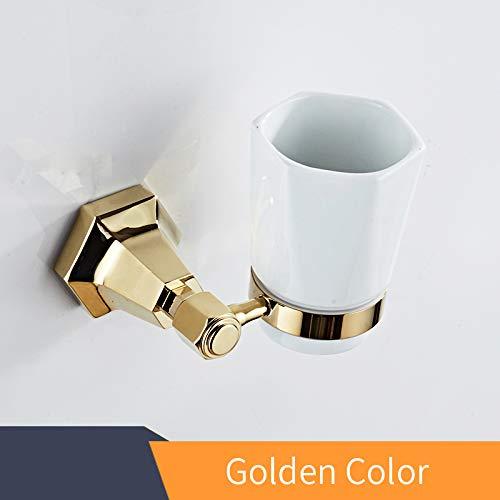 Mronstenlng Cup & Tumbler Halter Wand Zahnbürste Cup Holder aus massivem Messing Gold Bad-Accessoires Home Decoration Cups golden -