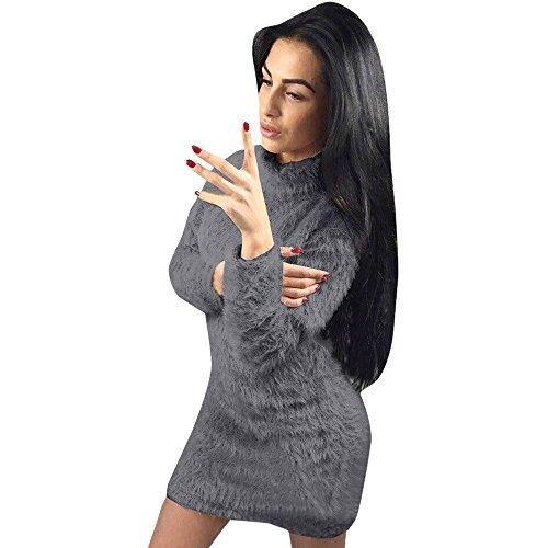Loveso Damen Herbst Winter Warm Faux Pelz Kleider Frauen Langarm Elegante Hoher Hals Kleid Abendkleider Freizeitkleider Cocktailkleider Midikleider Minikleid Partykleider (M, Dunkelgrau)