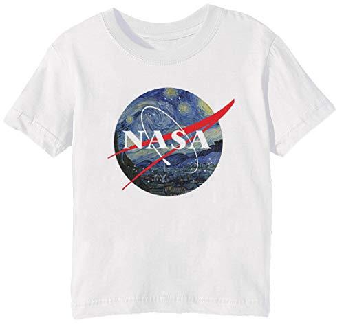Erido NASA Estrellado Noche Niños Unisexo Niño Niña Camiseta Cuello Redondo Blanco...