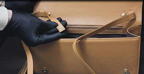 FERETI echtes Leder Damen Henkeltaschen, Schultertaschen, Bolt-Bags, Handtaschen, Umhängetaschen, Soft Leder Braun, Mittelbraun, (SCHWARZ) CAMEL