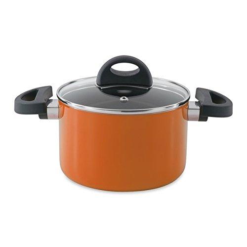 BergHOFF 3700156 Kochtopf mit Deckel, Gezogene Aluminium, orange, 19 x 28,5 x 10,5 cm