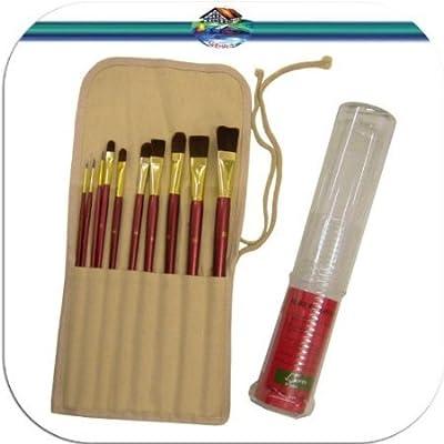 10er Set Künstlerpinsel Katzenzungenpinsel Zungenpinsel Flachpinsel Rund Pinsel für Acrylfarben und Aquarellfarben von Künstlerbedarf bei TapetenShop