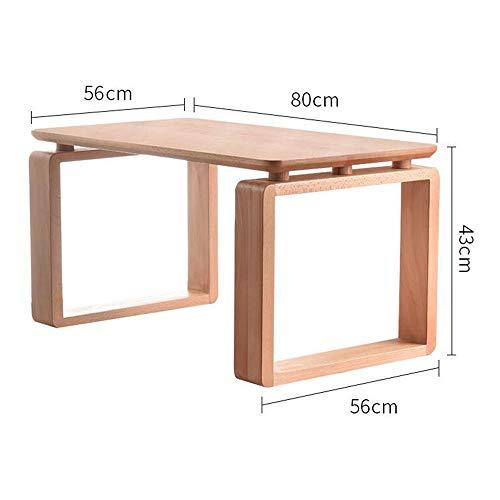 DEO Table de salle à manger Table à café en bois massif pour table de salle à manger de cuisine Table 2 tailles (Couleur : Wood, taille : 100cm)