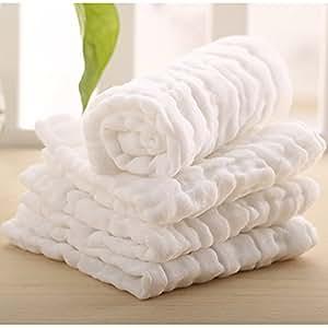 Lucear Set da 6 Asciugamani per Bebè Neonato Bagnetto Cambio Pulizia 100% Cotone Mussolino di 5 colori Come Bavaglino Tovagliolo Fazzoletto Selviette