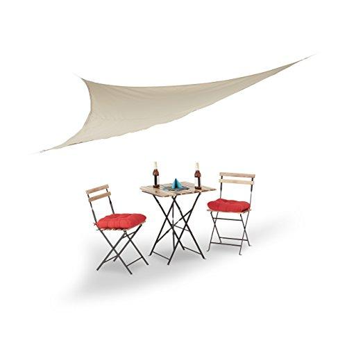 Relaxdays Sonnensegel, dreieckig, mit Spannseilen, für Garten, Terrasse, Balkon, Indoor, HBT: 0,1 x 350 x 290 cm, beige