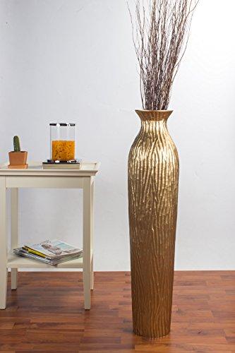 Jarrón de Suelo 90 cm, Madera de Mango, Dorado