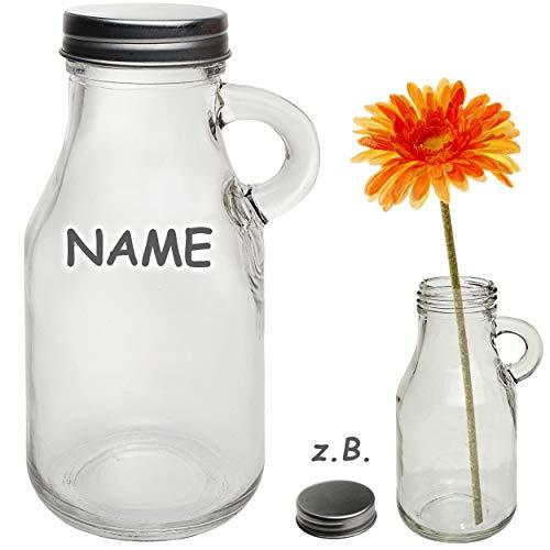 alles-meine.de GmbH 2 Stück _ kleine Glas Flaschen / Trinkflaschen / Fläschchen - mit Henkel + Deckel - inkl. Name - 200 ml - auslaufsicher - Schraubverschluss - Likörflaschen - ..