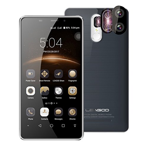Smartphone 4G,LEAGOO M8 Pro 5.7 HD Display(1280*720) Unlocked Mobile Phone,MT6737 Quad Core,2GB RAM+16GB ROM,13MP+5MP Real Camera,3500 mAh Battery,Dual Card Dual Standby Sim Free Cellphone (Grey)