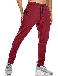 Brokig - Pantalones de deporte para hombre, corte ajustado, con bolsillos dobles