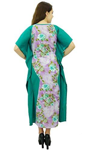 Phagun Coton Caftan Nightwear Femmes Bohème Vêtements Caftan Longue Robe Maxi Light Purple et vert turquoise