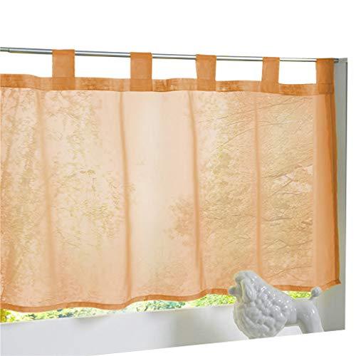 ESLIR Scheibengardine mit Schlaufen Gardinen Küche Bistrogardinen Transparent Stores Vorhänge Kurzgardine Voile Orange BxH 45x120cm 1 Stück