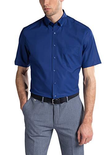 eterna Herren Kurzarm Business Hemd Modern Fit Popeline BD Modern-Button-Down-Kragen Unifarben 1301.C193 (Dunkelblau, W46, Länge Kurzarm) Button-down-band