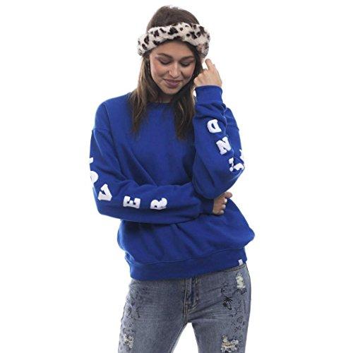 Longra Damen Brief Langarm T-Shirt Rundhals Ausschnitt Lose Bluse Hemd Pullover Oversize Sweatshirt Oberteil Tops (Blue, M) (Cotton Belted Bluse)