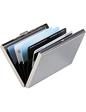 Vicloon Ultra Delgada Carteras de Aluminio Cartera de Acero Inoxidable Tarjetero de Crédito Durable con 6 Ranuras...