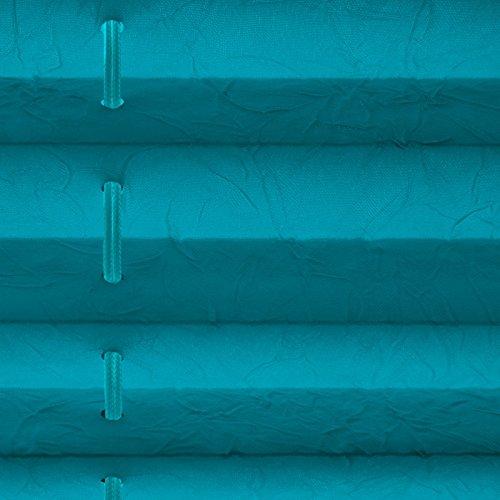 Plissee Rollo Magic | moderner Sichtschutz mit Crushed Optik | Fensterrollo mit Klemmfix ohne Bohren | Klemmrollo in verschiedenen Farben und Größen ( Türkis – 75 cm breit und 100 cm lang ) - 2