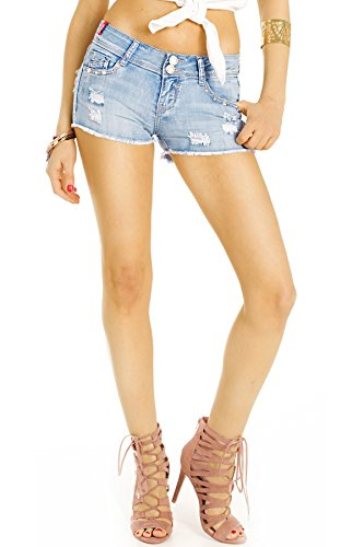 Bestyledberlin Damen Hotpants zerrissen, Kurze Destroyed Denim Hosen, Used Look Baumwoll Jeans Shorts j99kw 32