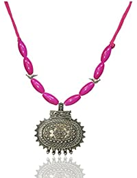 Junk N Jute Silver And Pink Alloy Strand Necklace For Women (JunkNJute 16)