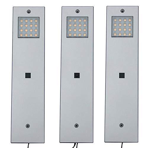 LED Unterbauleuchte, 3er Set - mit Zentralschalter - Lichtfarbe: neutral-weiss, 3 Watt pro Leuchte. Küchen-unter-bauleuchte Vitrinenleuchte Schrankleuchte Aufbauleuchte
