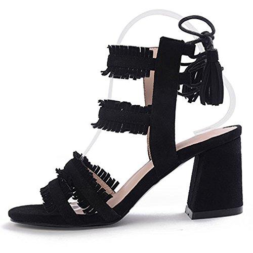 Oasap Women's Open Toe Lace up Block Heels Sandals with Tassel Black