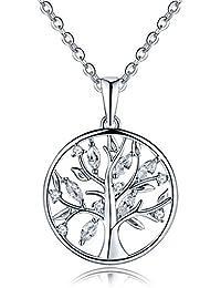YH joyería 925 plata de ley Circonita Árbol de la vida, Yggdrasil Colgante Collar con chapado en oro blanco