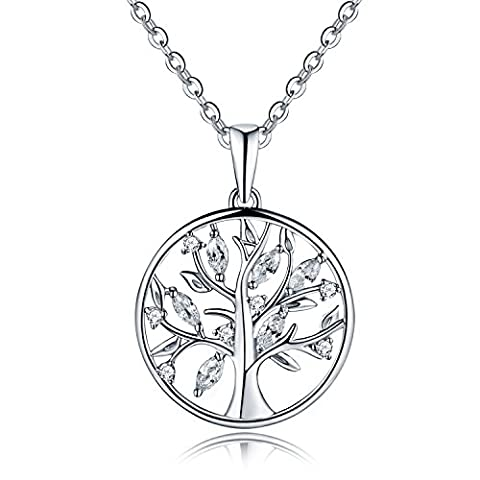 YH Jewelry White Gold Plated Sterling Silver Cubic Zirconia Tree of Life Yggdrasil Coin Pendant Necklace - SIZE: 21mm-22mm (Silver pendant necklace with White Cubic Zirconia-21mm)