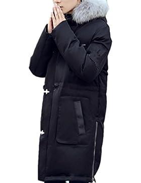 Más grueso por la chaqueta con estilo del collar largo de lana larga capa de los hombres , black , m