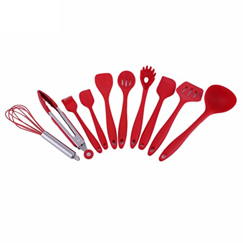 AchidistviQ 10 Pcs Heat Resistant Silicone Cookware Cooking Utensils Spatula Spoon Tools Red