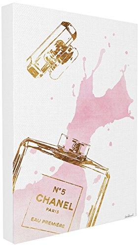 Stupell Industries Glam Parfüm Flasche Splash Pink Gold XXL gedehnt Art Wand, Stolz Made in USA, Leinwand, Mehrfarbig, 76,2x 3,81x 101,6cm Pink Mit Einem Splash