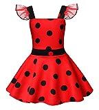 AmzBarley Ladybug Lady Bug Disfraz Niña Bebe Cumpleaños Mariquita Infantil de Danza,Girls Dress Up,Vestido Traje Animal Falda Ropa Escenario Vestir para Fiesta Cosplay Halloween Carnaval 3-4 Años 110