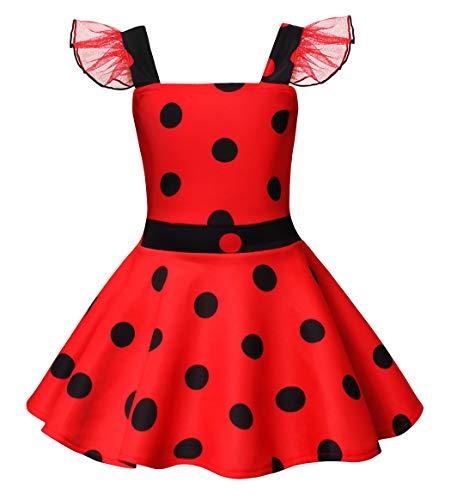 AmzBarley Miraculous Ladybug Kostüm Kleid Kinder Mädchen Marienkäfer Cosplay Kleider Schick Party Ankleiden Halloween Karneval Geburtstag Kleidung, Rot, 3-4 Jahre (Für Mädchen Halloween-kostüme Drei)