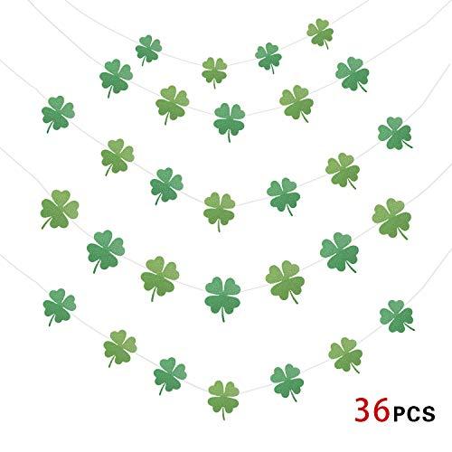 Howaf St.Patrick's Day Dekorationen, Kleeblatt Girlande glückliche irische Bunting Banner, St. Patrick's Day Deko Girlande, St. Patrick's Banner Dekorationen, 4M