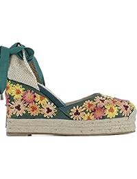Castaner Femme CARINA324F8ED29 Beige/Vert Tissu Chaussures Compensées