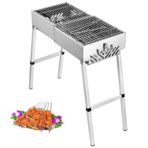 Buoqua F1 Charcoal BBQ Grill 60cmx30cm Folding Portable Grill Edelstahl Barbecue Charcoal Holzkohlegrill Outdoor Table BBQ Camping Barbecue Picnic (F1)