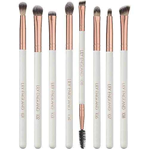 Lily England Eye Makeup Brushes Set - Best Professional Vegan 8 Piece Eye Blending Brush Set - Rose Gold