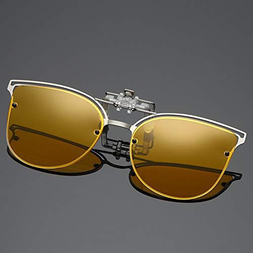 Taiyangcheng Polarisierte Klipp auf Sonnenbrillen Frauen in der Nähe sehende Fahren Nachtsichtlinse Myopie Brillen Clip Damen Flip Up Brille,Gelb