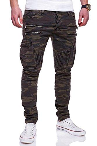 MT Styles Zipper Biker Jeans Slim Fit Camouflage Hose RJ-3196-3 [Khaki, W32/L32] (Herren-jeans Khaki)