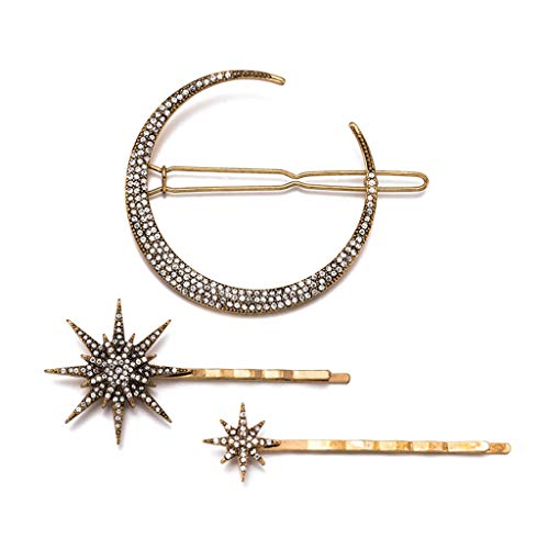oukerst 3 Teile/satz Retro Geometrische Haarspange Set Imitation Diamant Mond Sterne Modellierung Haarnadel Wort Clip Für Frauen Mädchen Schmuck Ornament (Imitation Diamant-halskette)
