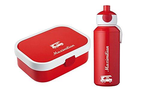 rotdose und Trinkflasche mit Wunschmotiv und Namen personalisierbar, Sparpreis,, Bento-Box und Fruchtgabel (rot) ()