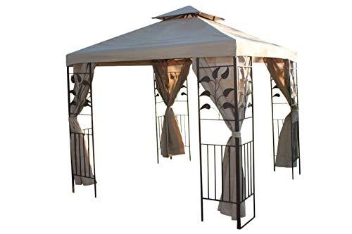 Blattdesign, 2,5 m im Quadrat, Garten-Pavillon, Beige Deckenbespannung & 4 Seitenbespannungen mit robustem Stahlrahmen-REDUZIERT