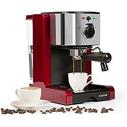 Klarstein Passionata Rossa 15 • Espressomaschine • Espresso-Automat • Kaffee-Maschine • 1470 Watt • 1,25 Liter • automatischer Druckablass • inkl. Milchschaum Düse für Zubereitung von Cappuccino • rot