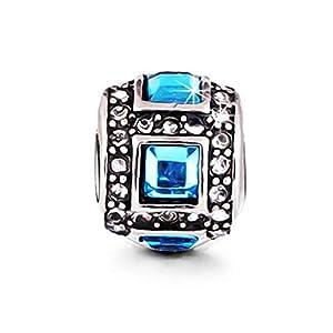 AKKi jewelry Beads Armband Set Edelstahl Perle bettel Leder-Armband Charms Bead Silber Original Strass mit Pandora Style Kompatibel NEU